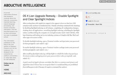 http://blog.stephenpurpura.com/post/7933453600/os-x-lion-upgrade-remedy-disable-spotlight-and-clear