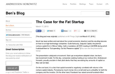 http://bhorowitz.com/2010/03/17/the-case-for-the-fat-startup/
