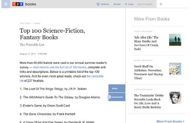 http://www.npr.org/2011/08/09/139248590/top-100-science-fiction-fantasy-books