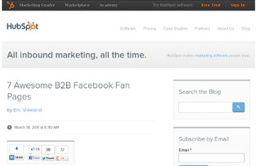 http://blog.hubspot.com/blog/tabid/6307/bid/10810/7-Awesome-B2B-Facebook-Fan-Pages.aspx