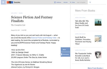 http://www.npr.org/2011/08/07/138938145/science-fiction-and-fantasy-finalists