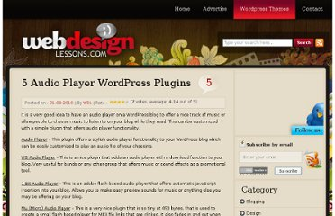 http://www.webdesignlessons.com/5-audio-player-wordpress-plugins/