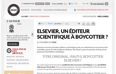 http://owni.fr/2010/11/02/elsevier-un-editeur-scientifique-a-boycotter/