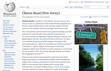 http://en.wikipedia.org/wiki/Clinton_Road_(New_Jersey)