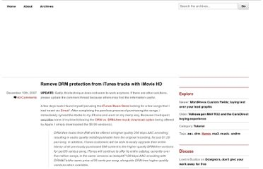 http://5thirtyone.com/tutorial/remove-drm-protection-from-itunes-tracks-with-imovie-hd/