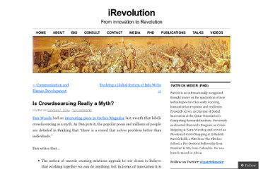 http://irevolution.net/2009/10/07/crowdsourcing-myth/