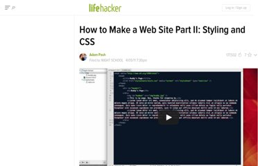 http://lifehacker.com/5789294/how-to-make-a-web-site-part-ii-styling-and-css