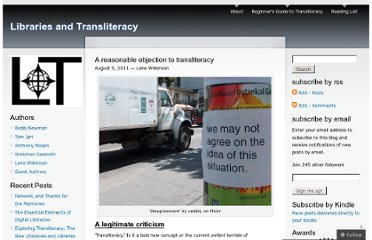 http://librariesandtransliteracy.wordpress.com/2011/08/05/a-reasonable-objection-to-transliteracy/