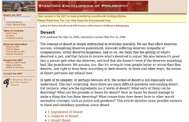 http://plato.stanford.edu/entries/desert/