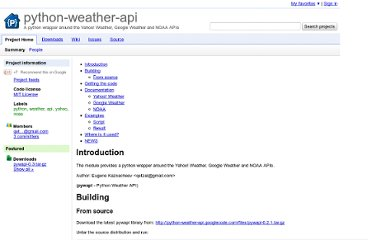 http://code.google.com/p/python-weather-api/