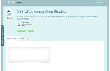 http://html5snippets.com/snippets/10-css-lifted-corner-drop-shadow