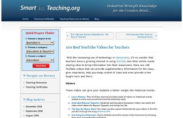 http://www.smartteaching.org/blog/2008/08/100-best-youtube-videos-for-teachers/