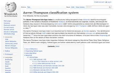 http://en.wikipedia.org/wiki/Aarne%E2%80%93Thompson_classification_system