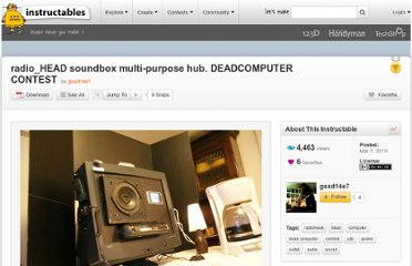 http://www.instructables.com/id/radioHEAD-soundbox-multi-purpose-hub-DEADCOMP/