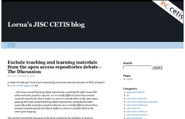 http://blogs.cetis.ac.uk/lmc/2008/11/21/exclude-teaching-and-learning-materials-from-the-open-access-repositories-debate-the-discussion/