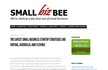 http://smallbizbee.com/index/2011/08/11/the-safest-small-business-startup-strategies-are-virtual-guerrilla-and-flexible/
