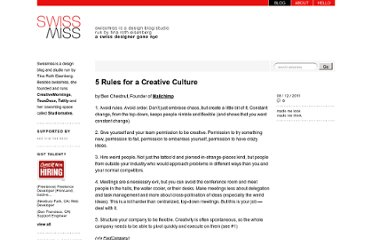 http://www.swiss-miss.com/2011/08/5-rules-for-a-creative-culture.html