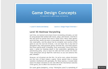 http://gamedesignconcepts.wordpress.com/2009/07/30/level-10-nonlinear-storytelling/