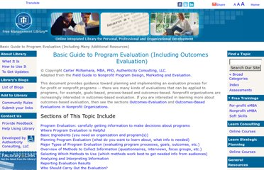 http://managementhelp.org/evaluation/program-evaluation-guide.htm