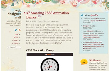http://webdesignerwall.com/trends/47-amazing-css3-animation-demos/comment-page-3