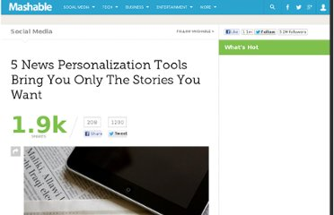 http://mashable.com/2011/08/14/5-news-personalization-tools/