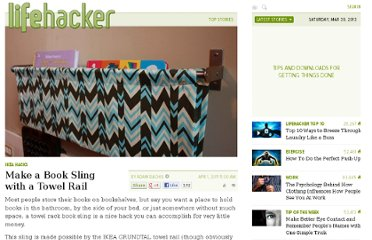 http://lifehacker.com/5787850/make-a-book-sling-with-an-ikea-towel-rail
