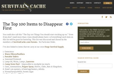 http://survivalcache.com/top-100-items-to-dissappear-first/