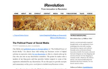 http://irevolution.net/2010/12/26/political-power-of-social-media/