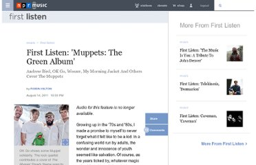 http://www.npr.org/2011/08/14/138984517/first-listen-muppets-the-green-album