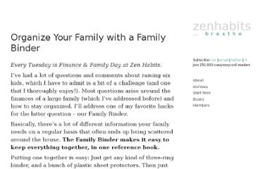 http://zenhabits.net/organize-your-family-with-a-family-binder/
