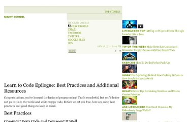 http://lifehacker.com/5743401/learn-to-code-epilogue-best-practices-and-additional-resources