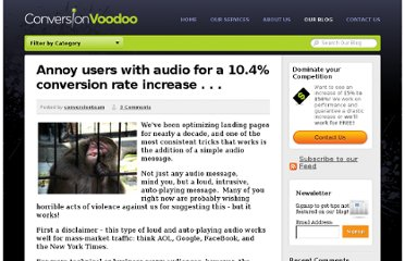 http://www.conversionvoodoo.com/blog/2010/06/annoy-your-users-for-a-10-percent-conversion-increase/