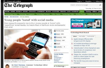 http://www.telegraph.co.uk/technology/social-media/8702509/Young-people-bored-with-social-media.html