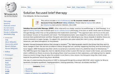 http://en.wikipedia.org/wiki/Solution_focused_brief_therapy
