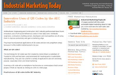 http://industrialmarketingtoday.com/innovative-uses-of-qr-codes-by-the-aec-industry/