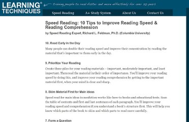 http://www.learningtechniques.com/speedreadingtips.html