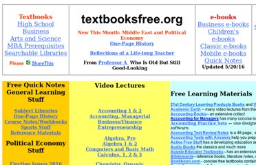 http://www.textbooksfree.org/#Sites_With_Free_Textbooks_