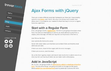 http://trevordavis.net/blog/ajax-forms-with-jquery/
