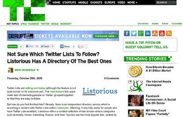 http://techcrunch.com/2009/10/29/not-sure-which-twitter-lists-to-follow-listorious-has-a-directory-of-the-best-ones/