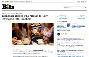 http://bits.blogs.nytimes.com/2011/08/16/skillshare-raises-3-1-million-to-turn-everyone-into-teachers/