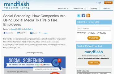 http://www.mindflash.com/blog/2011/08/social-screening-how-companies-are-using-social-media-to-hire-fire-employees/
