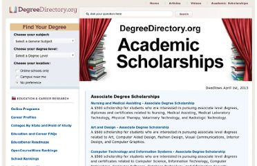 http://degreedirectory.org/pages/scholarship_home.html