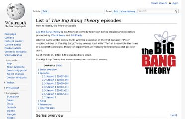 http://en.wikipedia.org/wiki/List_of_The_Big_Bang_Theory_episodes