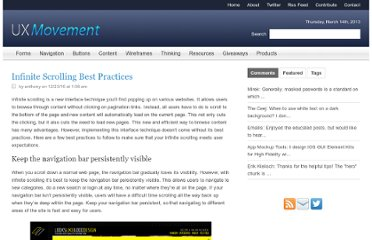 http://uxmovement.com/navigation/infinite-scrolling-best-practices/