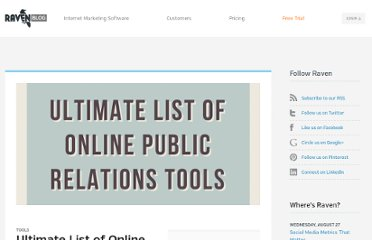 http://raventools.com/blog/ultimate-list-of-online-public-relations-tools/