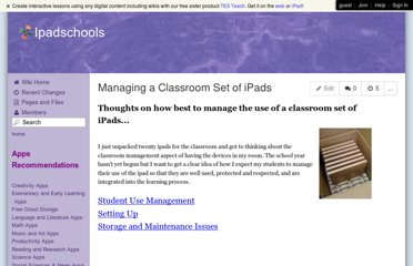 http://ipadschools.wikispaces.com/Managing+a+Classroom+Set+of+iPads