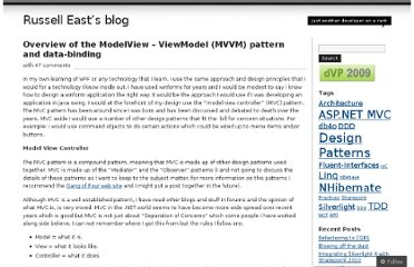 http://russelleast.wordpress.com/2008/08/09/overview-of-the-modelview-viewmodel-mvvm-pattern-and-data-binding/