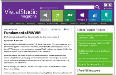 http://visualstudiomagazine.com/articles/2011/08/15/fundamental-mvvm.aspx