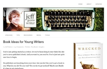 http://goinswriter.com/book-ideas-for-young-writers/