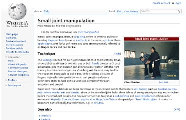 http://en.wikipedia.org/wiki/Small_joint_manipulation